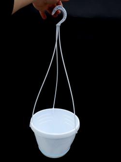 White basket 20 cm diameter with under pot