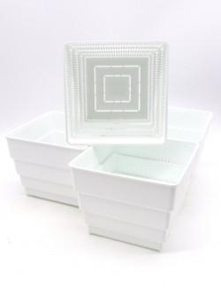 Vaso bianco  a ripiani forato 15x15x12,5 h