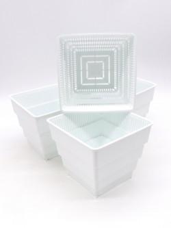 Vaso bianco  a ripiani forato 12x12x11,5 h